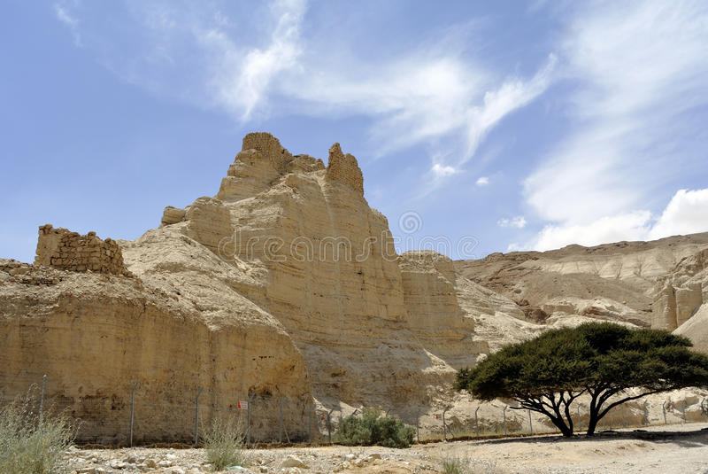 Zohar堡垒在犹太沙漠。 库存图片