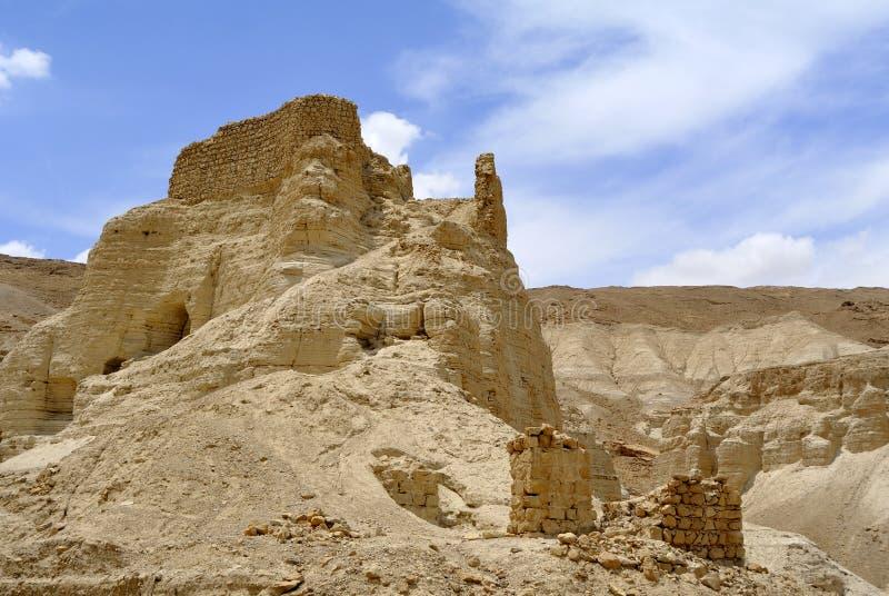 Zohar fästning i den Judea öknen. arkivbilder