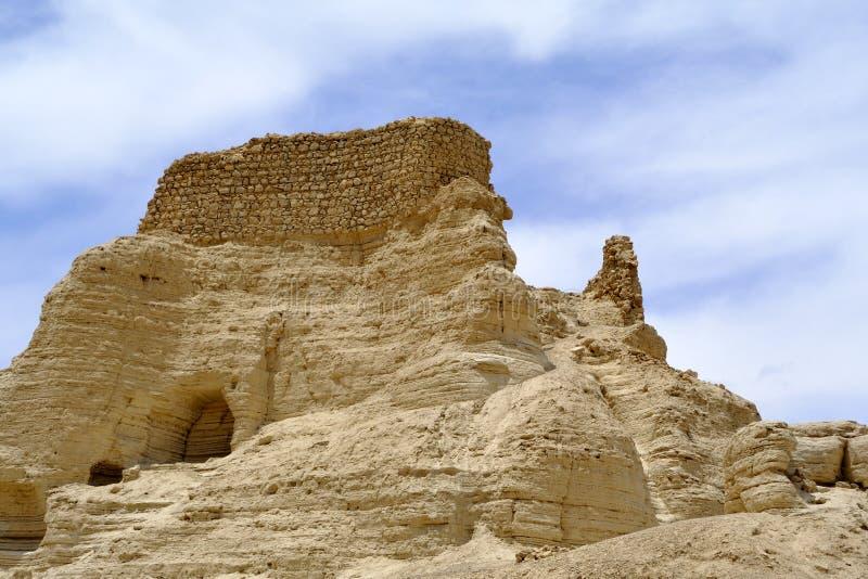 Zohar fästning i den Judea öknen. royaltyfria bilder