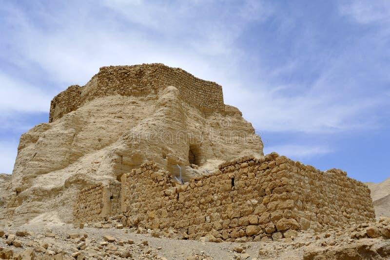 Zohar fästning i den Judea öknen. royaltyfri fotografi
