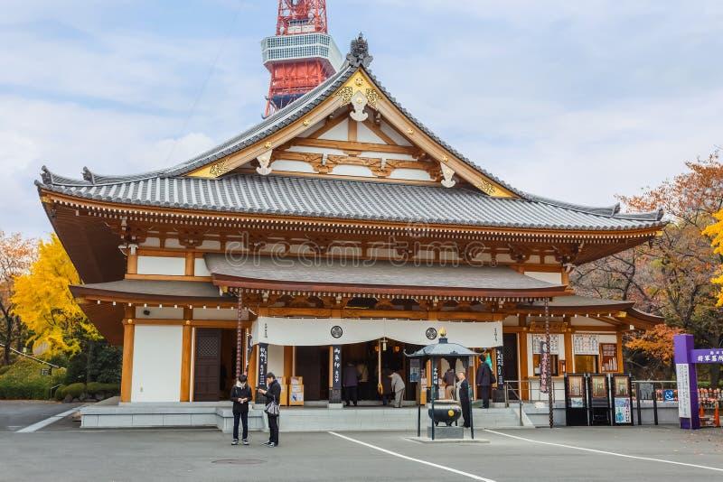 Zojoji寺庙的Ankokuden霍尔在东京 库存照片