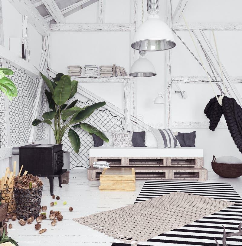 Zolder binnenlands ontwerpidee met hangmat, Skandinavische bohostijl royalty-vrije stock foto's
