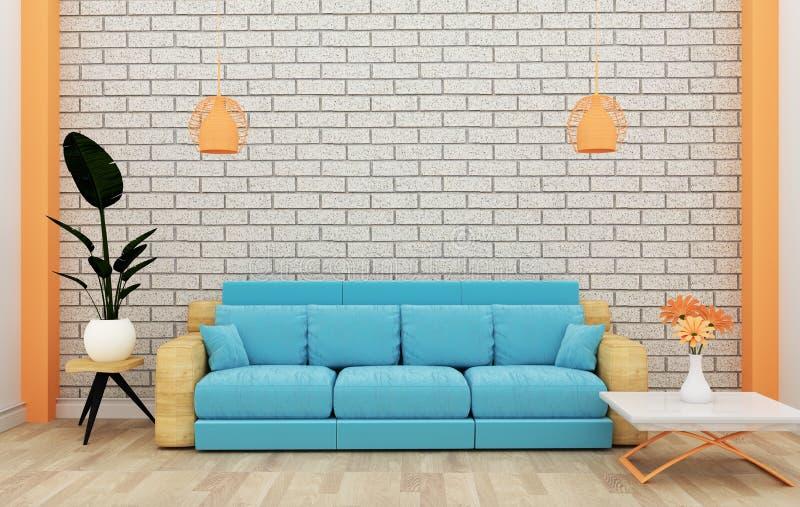 Zolder binnenlandse spot omhoog met bank en decoratie en witte bakstenen muur op houten vloer het 3d teruggeven vector illustratie