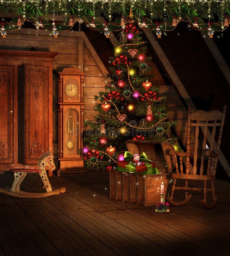 Zolder met de decoratie van Kerstmis stock illustratie