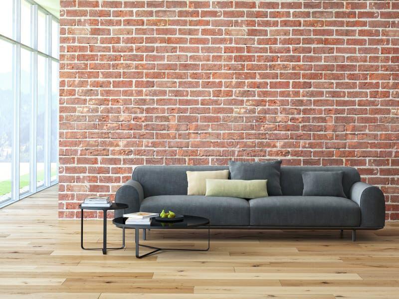 Zolderbinnenland met bakstenen muur en koffietafel stock afbeeldingen