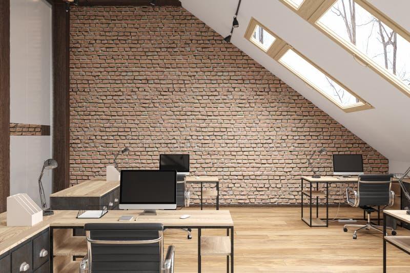 Zolderbureauopen plek met stralen, glasdeuren, bakstenen muur, houten vloer, meubilair en computers vector illustratie