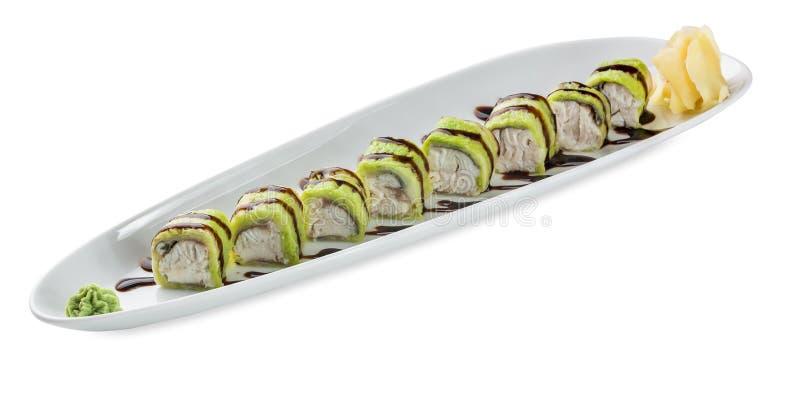 Zolla dei sushi Isolato su priorità bassa bianca immagini stock libere da diritti