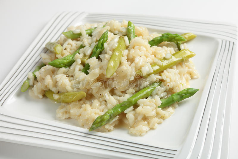 Zolla del risotto dell'asparago fotografia stock