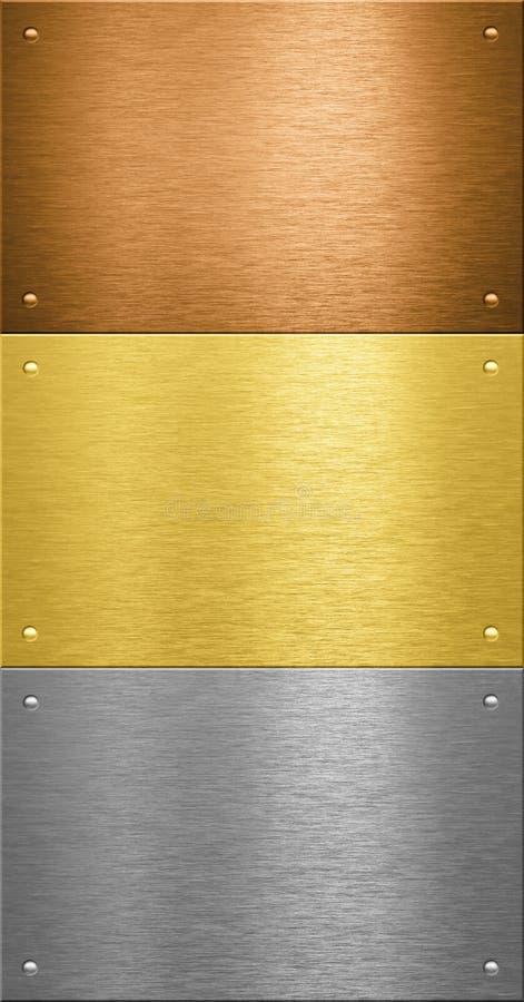 Zolle di metallo di alluminio e d'ottone con i ribattini fotografia stock libera da diritti
