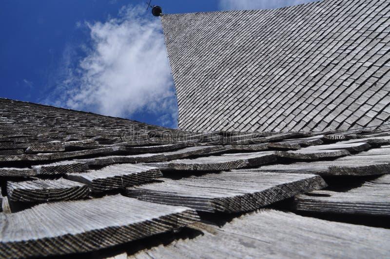 Zollner Fiedenskapelle (pokój kaplica) Drewniany dachowych płytek szczegół zdjęcie stock