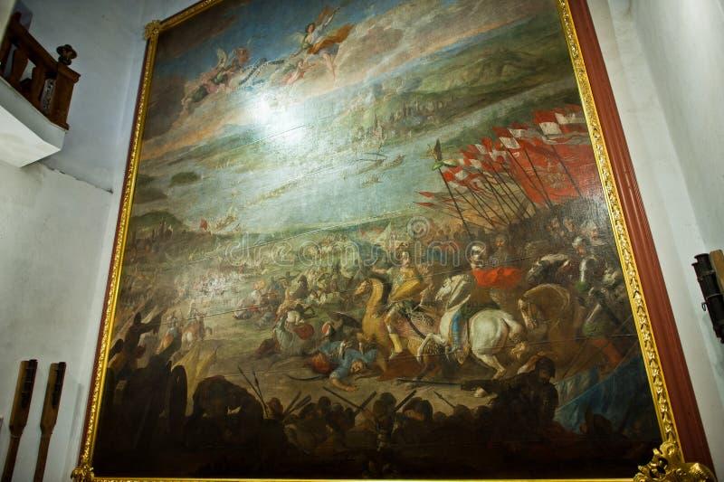 Zolochiv, Ucrânia - 24 de julho de 2018: Pintura enorme da guerra no musa fotografia de stock