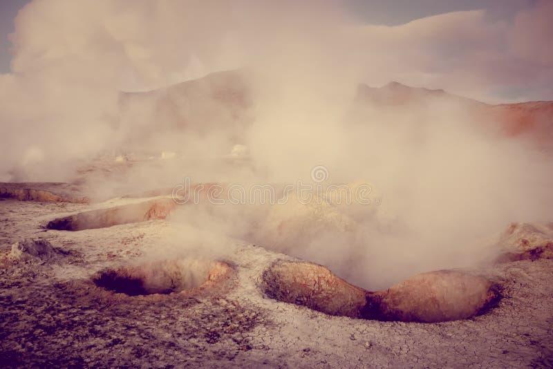 Zolu De Manana geotermiczny pole w sud Lipez reserva, Boliwia obrazy royalty free