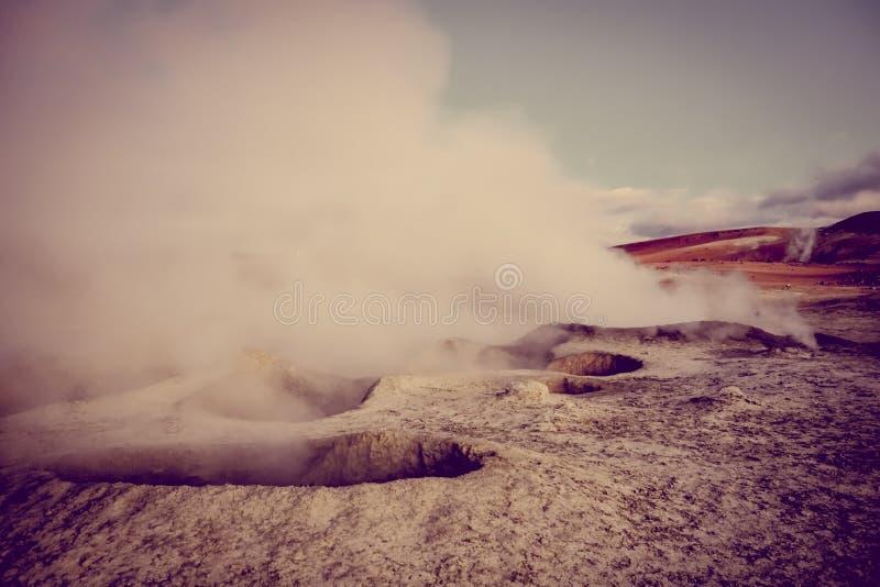 Zolu De Manana geotermiczny pole w sud Lipez reserva, Boliwia zdjęcie royalty free