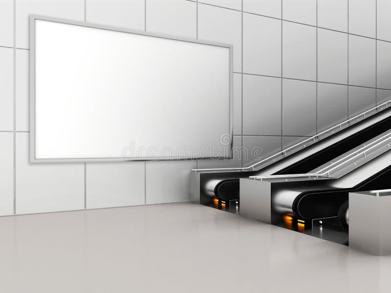 Zombaria acima da exposição dos anúncios do molde dos meios do cartaz na escada rolante da estação de metro rendição 3d ilustração royalty free