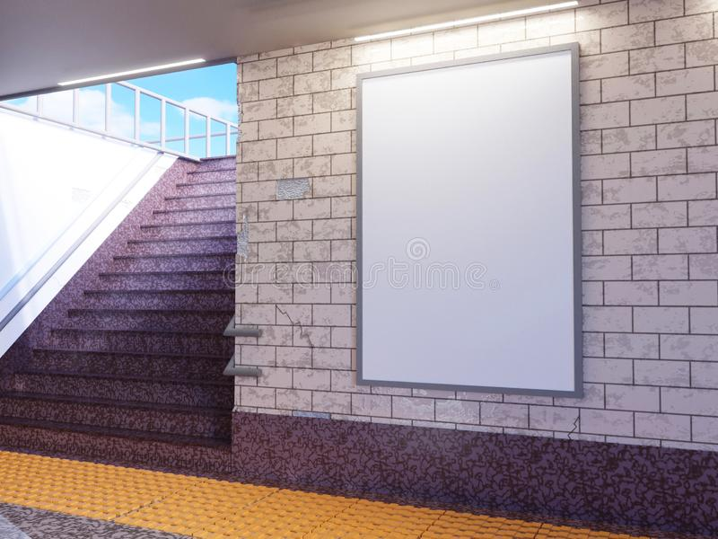 Zombaria acima da exposição dos anúncios do molde dos meios do cartaz na escada rolante da estação de metro ilustração da rendiçã ilustração stock
