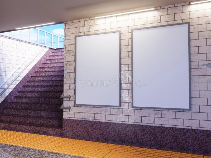 Zombaria acima da exposição dos anúncios do molde dos meios do cartaz na escada rolante da estação de metro ilustração da rendiçã ilustração do vetor