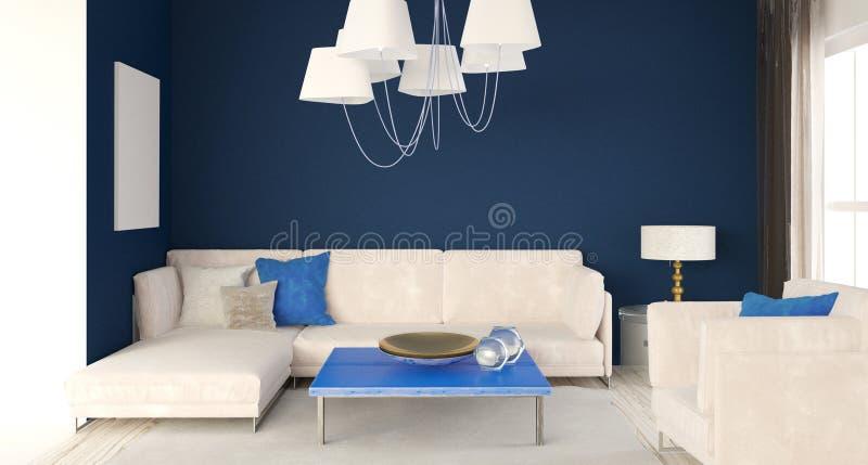 Zombaria acima da parede no interior com sofá Estilo moderno da sala de visitas 3 ilustração do vetor