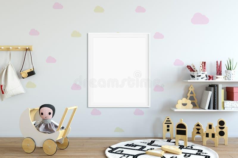 Zombaria acima da parede no interior da sala de criança Estilo escandinavo interior 3D rendição, ilustração 3D ilustração royalty free