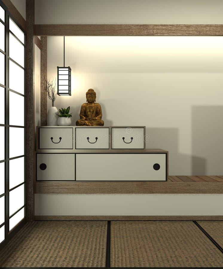 A zombaria acima da sala de Japão com estilo de japão do assoalho e da decoração da esteira de tatami foi projetada no estilo jap ilustração stock