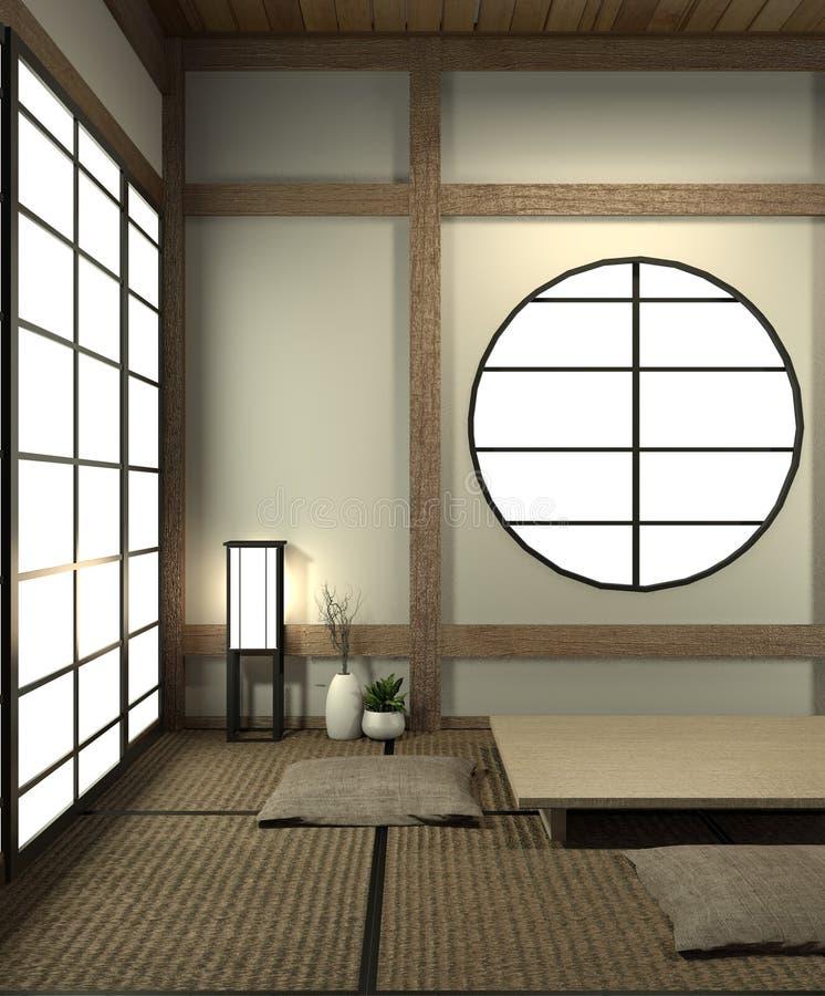 A zombaria acima da sala de Japão com estilo de japão do assoalho e da decoração da esteira de tatami foi projetada no estilo jap ilustração do vetor