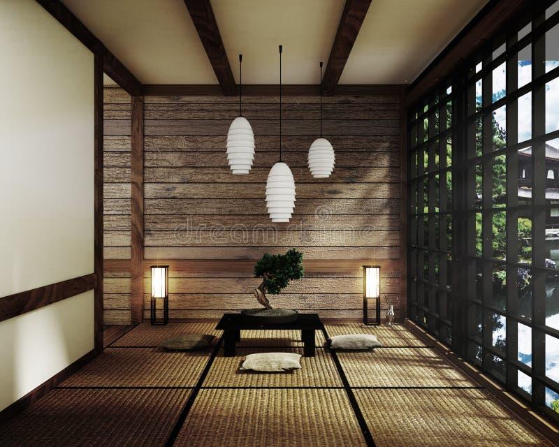 A zombaria acima das esteiras de Tatami e das portas deslizantes de papel chamou a sala de Shoji estilo japonês do zen rendi??o 3 ilustração do vetor