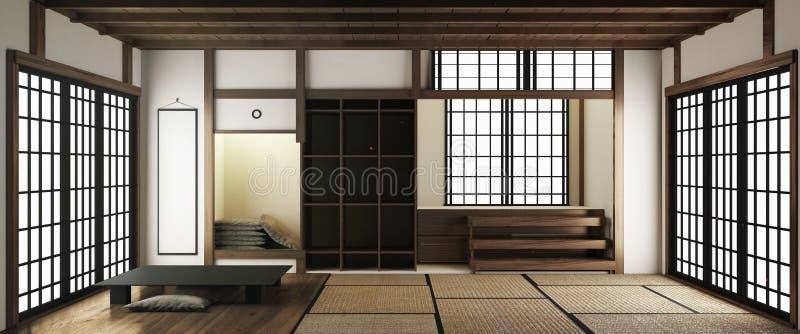 A zombaria acima das esteiras de tatami e das portas deslizantes de papel chamou Shoji no estilo japonês da sala rendi??o 3d ilustração stock