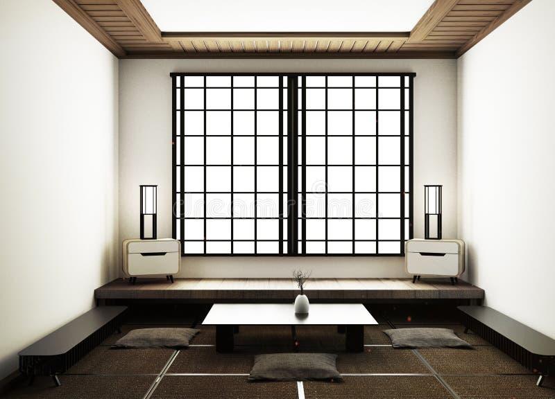 A zombaria acima das esteiras de tatami e das portas deslizantes de papel chamou Shoji no estilo japonês da sala rendi??o 3d ilustração do vetor