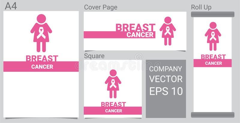Zombaria acima do ícone realístico do câncer da mama com a fita cor-de-rosa da conscientização e das mulheres na bandeira branca  ilustração royalty free