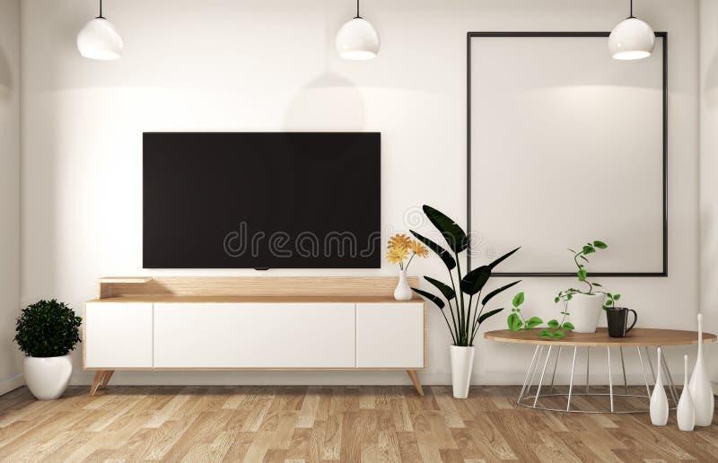 Zombaria acima do armário da tevê na sala vazia moderna japonesa - estilo do zen, projetos mínimos renderingMock 3D acima ilustração royalty free