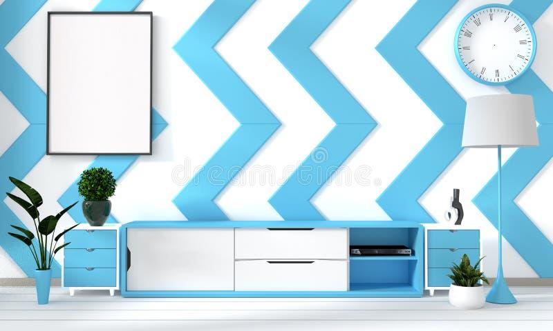 Zombaria acima do céu azul e do cartaz da sala branca com fundo interior japonês do minimalismo do moderno do zen, rendição 3D ilustração royalty free