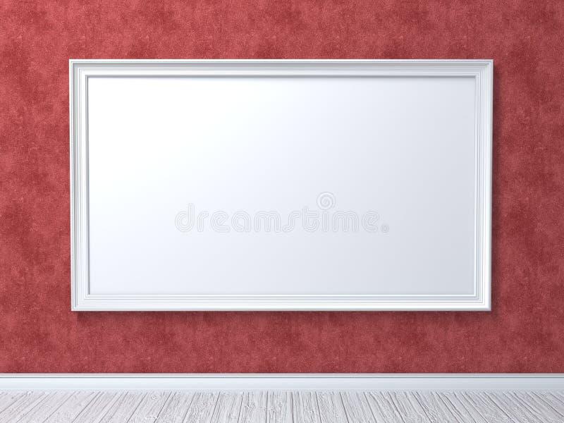 A zombaria acima do cartaz na parede vermelha 3D rende ilustração do vetor