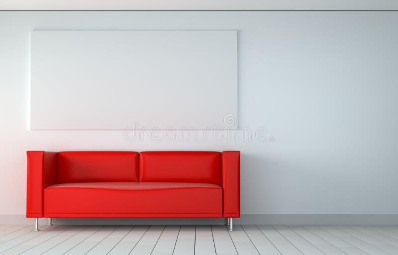 Zombaria acima do cartaz na sala com sofá ilustração stock
