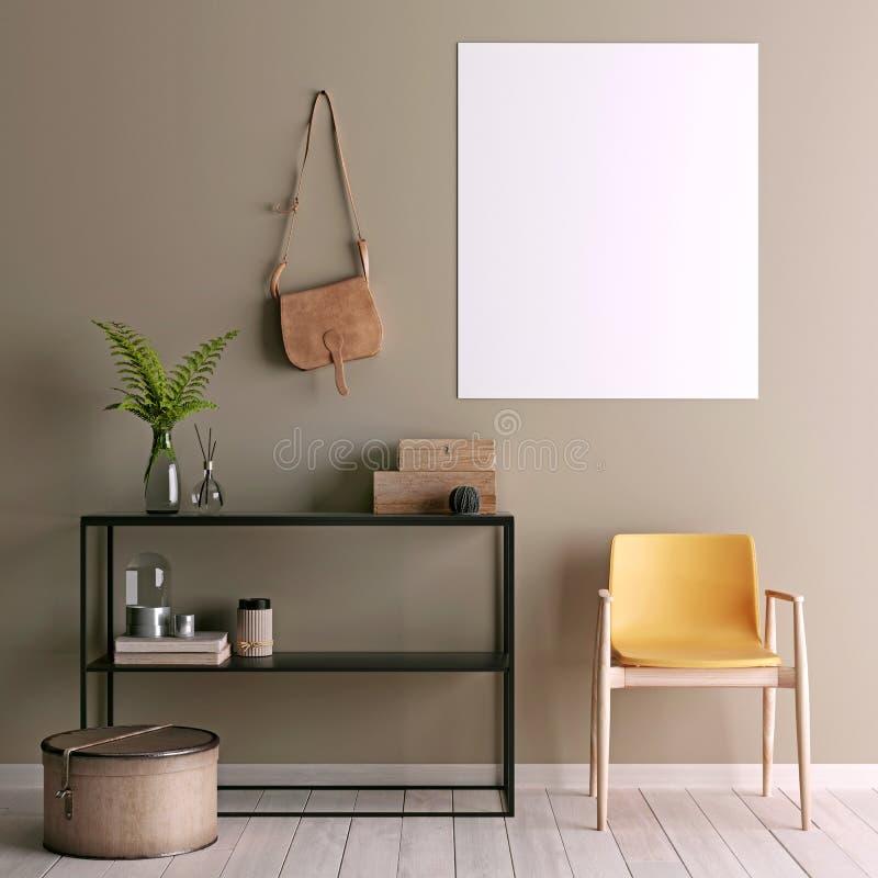 Zombaria acima do cartaz na tabela na sala - 3D rendem ilustração royalty free