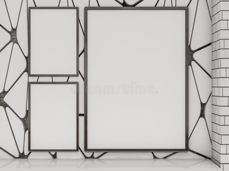Zombaria acima do cartaz no interior da sala de visitas 3d foto de stock