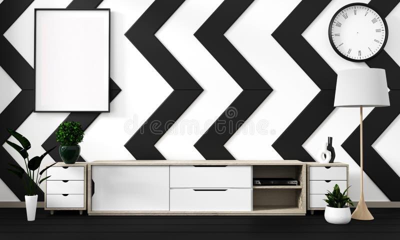 Zombaria acima do cartaz preto e branco da sala com fundo interior japonês do minimalismo do moderno do zen, rendição 3D ilustração do vetor
