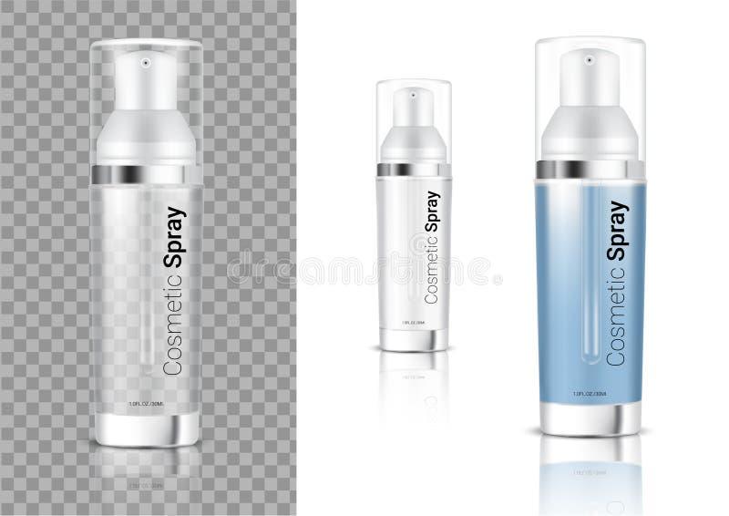 Zombaria acima do cosmético ou do óleo transparente realístico da garrafa do pulverizador para o produto de Skincare que empacota ilustração do vetor