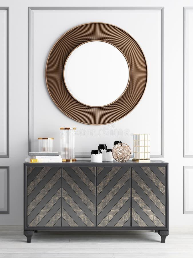 Zombaria acima do espelho sobre gavetas da caixa ilustração stock