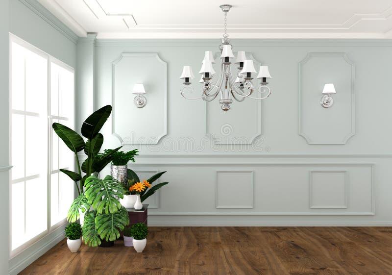 Zombaria acima do estilo clássico luxuoso vivo interior, parede branca em telhas do granito, da decoração rendição 3D ilustração do vetor