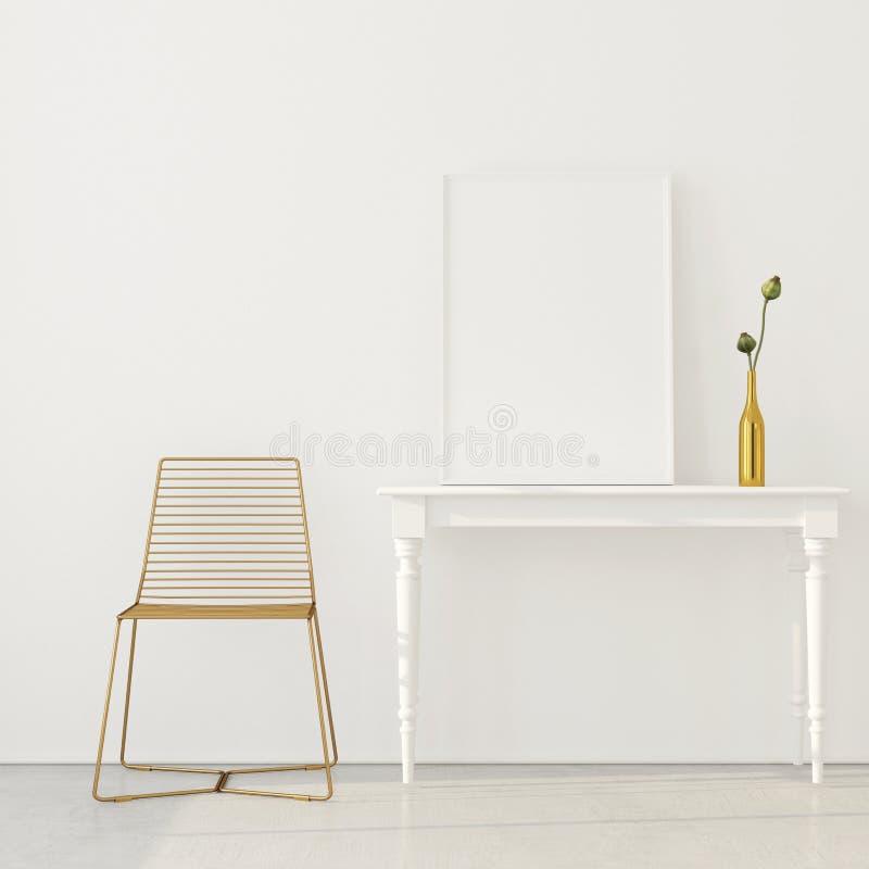 Zombaria acima do interior com uma cadeira dourada ilustração do vetor