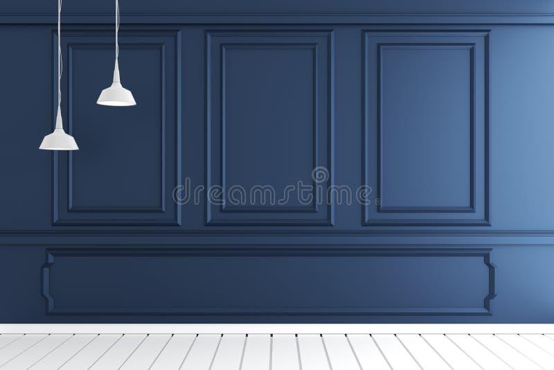 Zombaria acima do interior luxuoso vazio da sala com projeto de molde da parede no assoalho de madeira branco rendi??o 3d ilustração stock