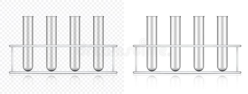 Zombaria acima do plástico ou do vidro transparente realístico do tubo de ensaio para a ciência e a aprendizagem da ilustração do ilustração stock