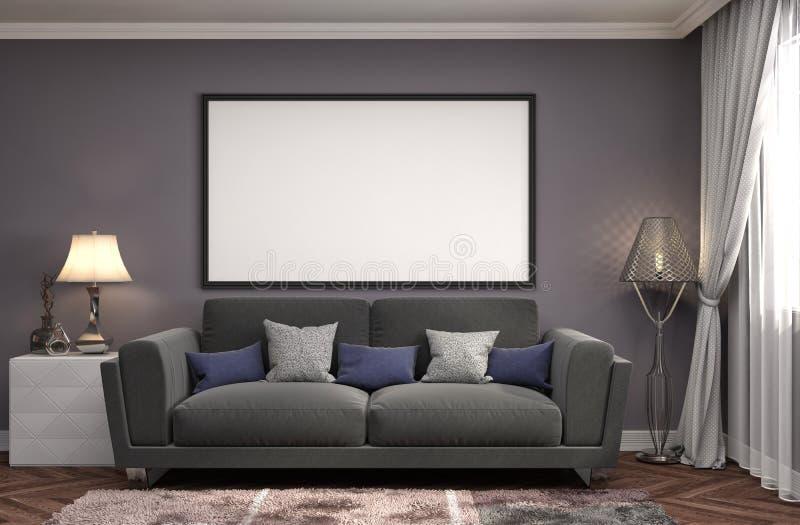 Zombaria acima do quadro do cartaz no fundo interior ilustração 3D ilustração royalty free