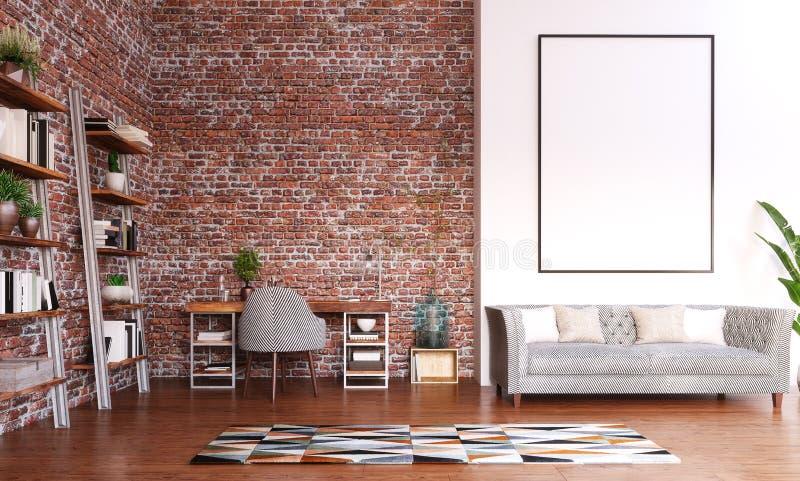 Zombaria acima do quadro no projeto do escritório domiciliário, sala moderna do espaço de trabalho imagem de stock royalty free