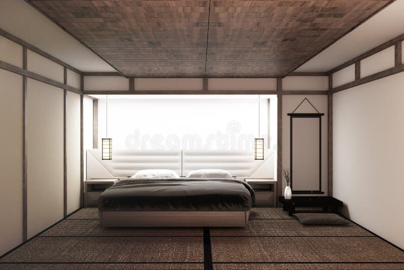Zombaria acima do quarto calmo moderno quarto do estilo do zen Quarto sereno Cama de madeira com estilo japonês de assoalho de ta ilustração do vetor
