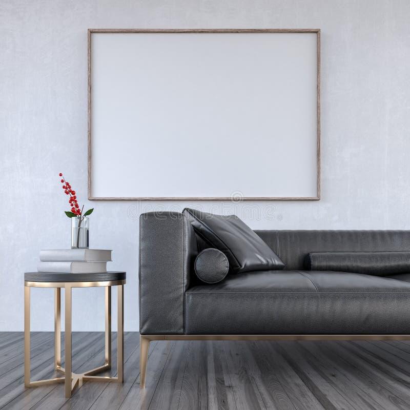 A zombaria acima do sofá de couro preto na sala de visitas moderna, design de interiores 3D rende ilustração royalty free