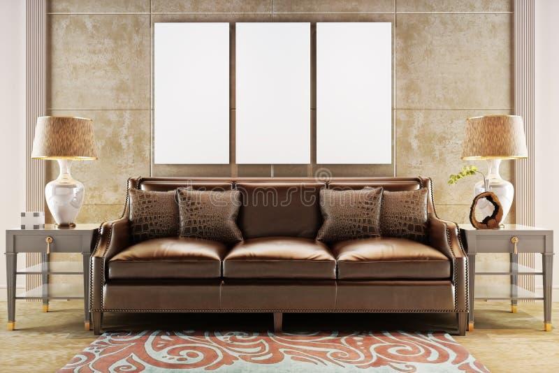 Zombaria acima dos cartazes com o sofá de couro do sofá ilustração stock