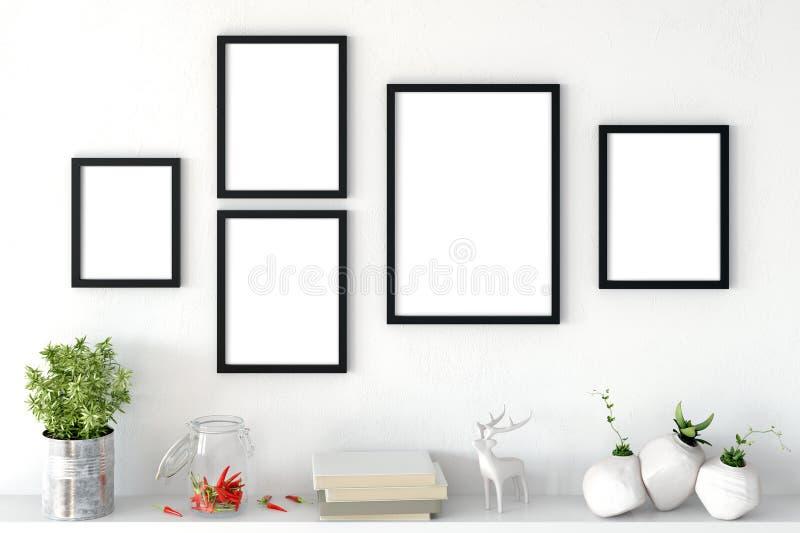 Zombaria acima dos cartazes no interior da sala de visitas Estilo escandinavo interior 3D rendição, ilustração 3D ilustração stock
