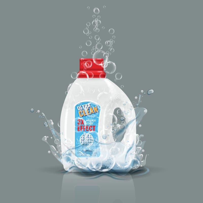 Zombaria azul da garrafa do detergente para a roupa acima com respingo da água Ilustração do vetor ilustração do vetor