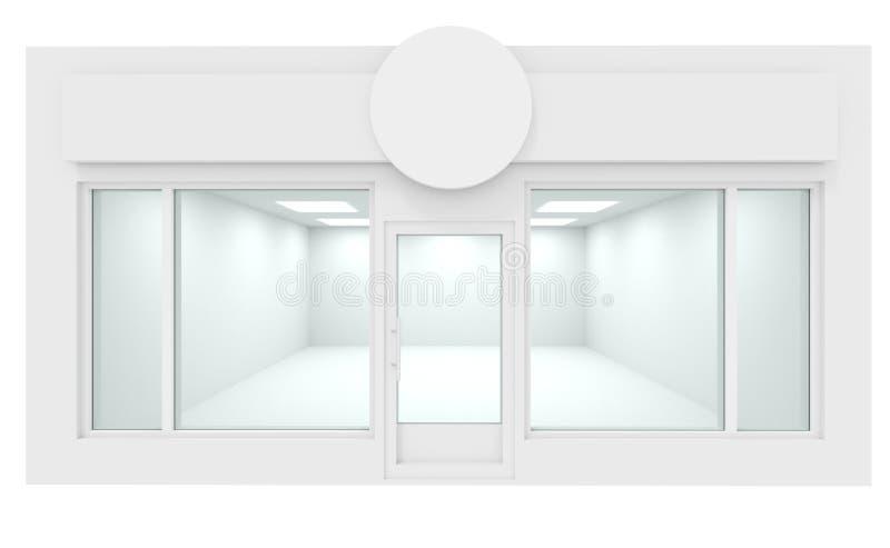 Zombaria branca da montra acima do interior do projeto, 3d para render ilustração stock