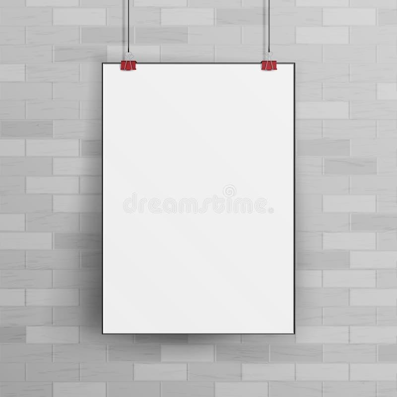 Zombaria branca do cartaz da parede do papel vazio acima do vetor do molde ilustração royalty free